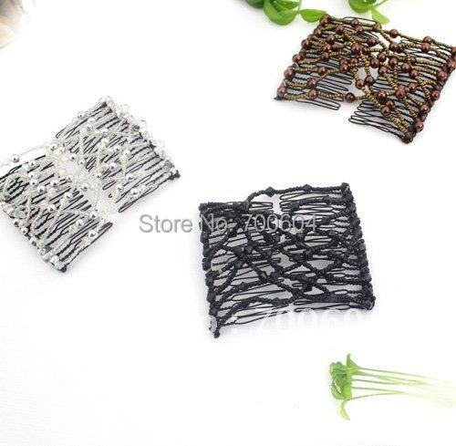 Wholesale Fashion double jewelry beads mixed design headwear hairwear  Magic Hair Combs/Fabulous Hairstyle Instantly Haarclips