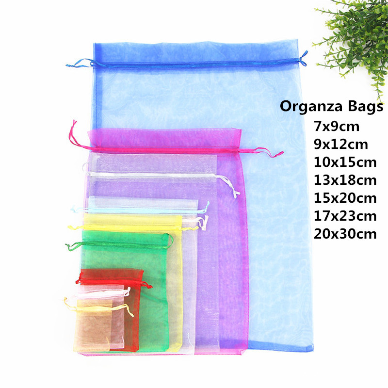 10pcs 15x20 17x23 20x30cm Gift Bag Jewelry Packaging Organza Bag Pouches Jewelry Packing Bag Birthday Party Decorations Supplies