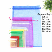 10pcs 15x20 17x23 20x30cm Gift Bag Jewelry Packaging Organza Bag Pouches Jewelry Packing Bag Birthday Party Decorations Supplies(China)