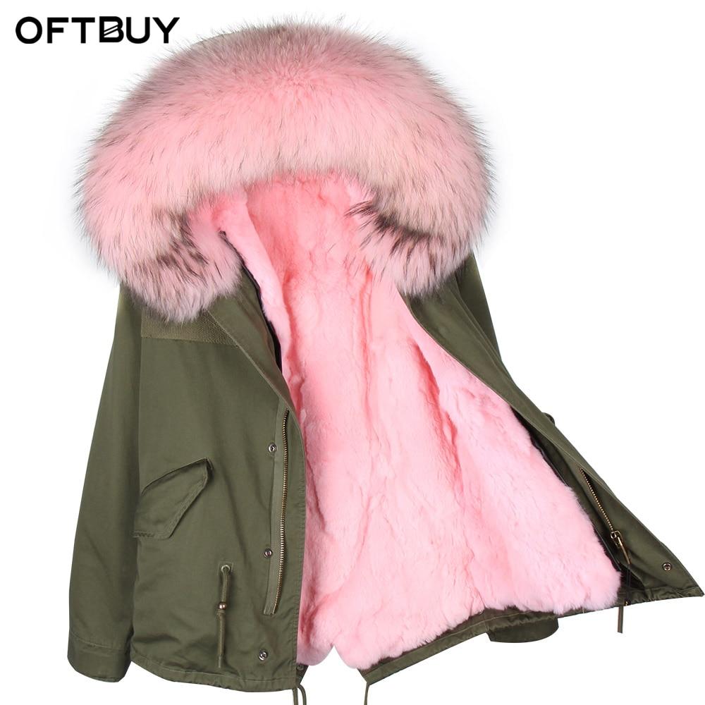 US $161.54 37% di SCONTO|OFTBUY 2019 verde Kaki donne giacca invernale parka reale cappotto di pelliccia grande naturale collo di pelliccia di