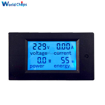 Max 20A AC 80-260V Digital LCD Voltmeter Ammeter Panel Power Energy Meter Blue Backlight Dual Measuring AC Voltage Current фото