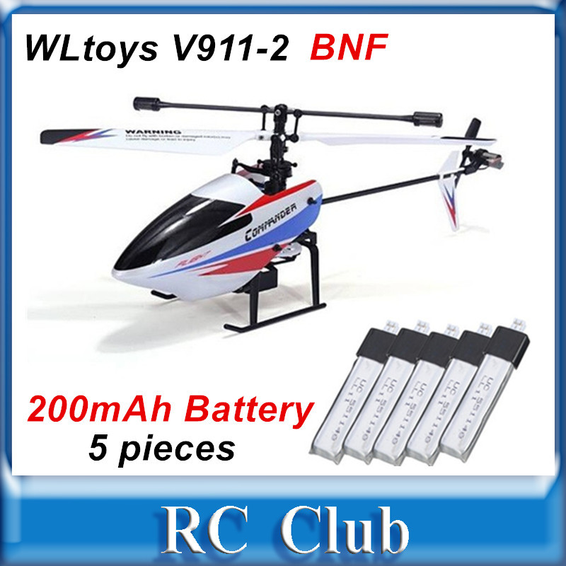 WLtoys V911 V2 BNF V911-2  (V911Pro)  4CH RC Helicopter Body Only+ 5 PCS* 200mAh Battery (Without remote controller ) wltoys wl r6 left hand mode remote controller for v911 v911 1 v911 2 v912 v913 black