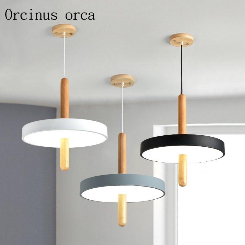 Minimalist creative wheel LED chandelier restaurant bedroom study Nordic modern single head log Chandelier free shipping