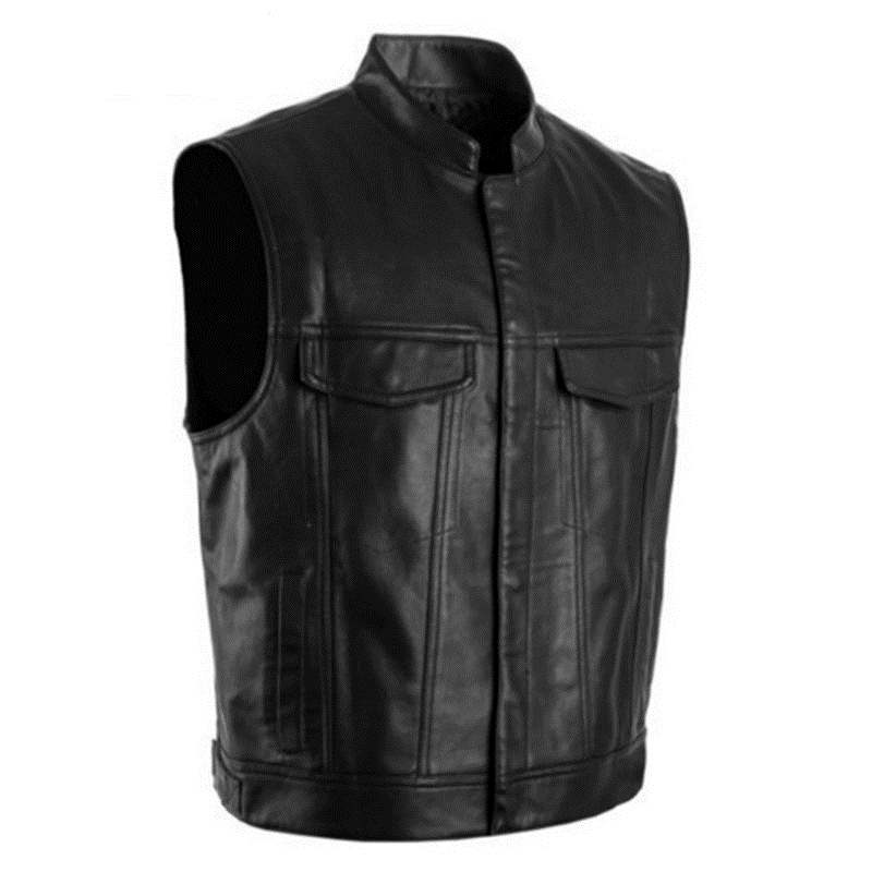 2019 Men PU Leather Vest Black  Moto & Biker Hip Hop Punk Bomber Waistcoat Male Spring Standing Collar Sleeveless Jacket 5XL