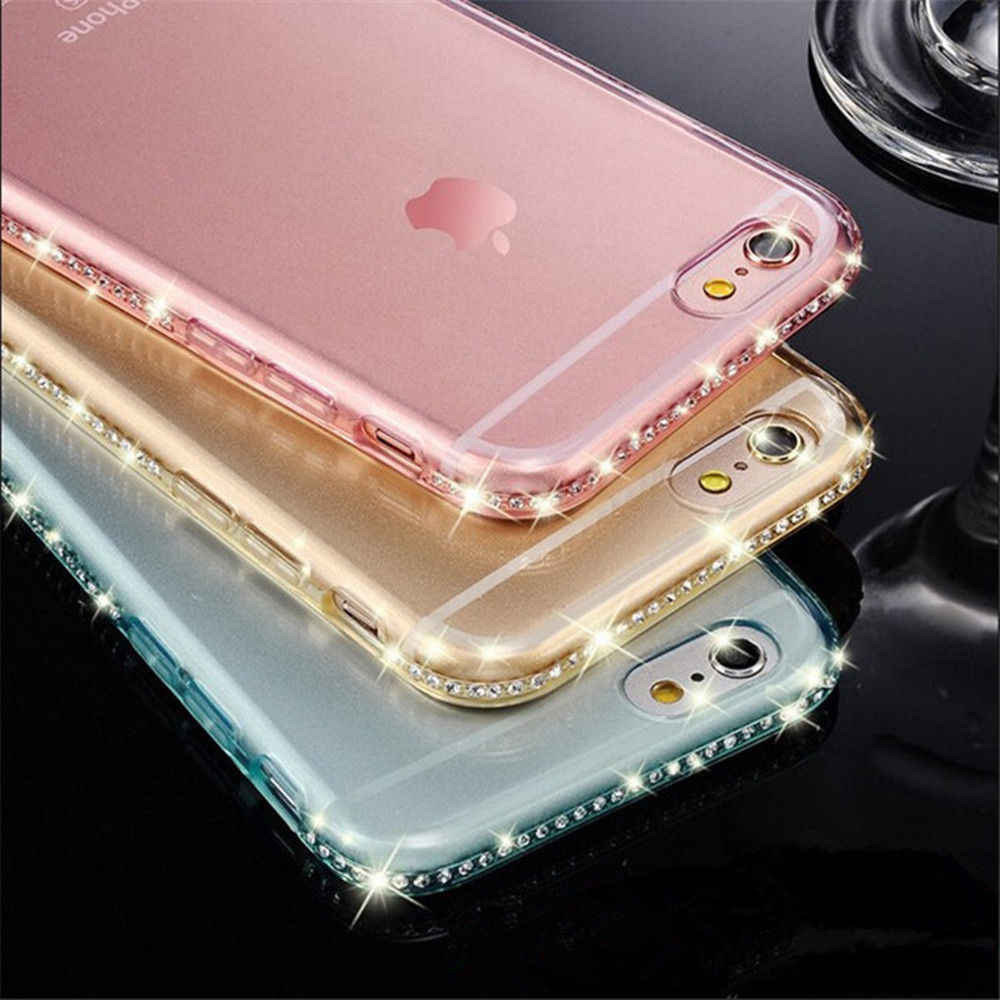 Funda trasera de TPU suave de diamante de lujo portefeulle para Apple iPhone 6 6 s 7 8 Plus 5S X SE 5 XS Max XR 10 iPhone6s Accesorios