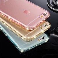 Portefeuille高級ダイヤモンドソフトtpuバックケースカバーappleのiphone 6 6s 7 8プラス5 x se 5 xs最大xr 10 iPhone6sアクセサリー