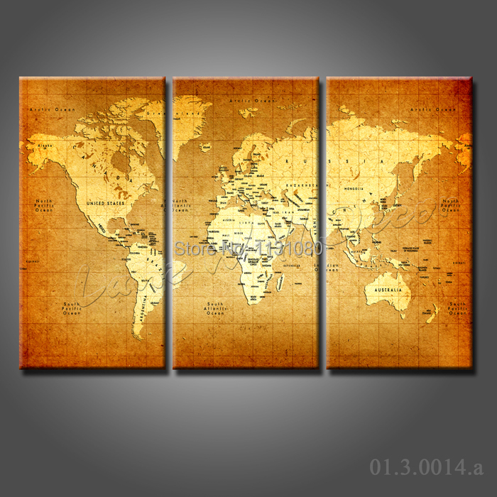 No Frame Canvas Only 3 Pieces World Map New Zealand On Modern Wall