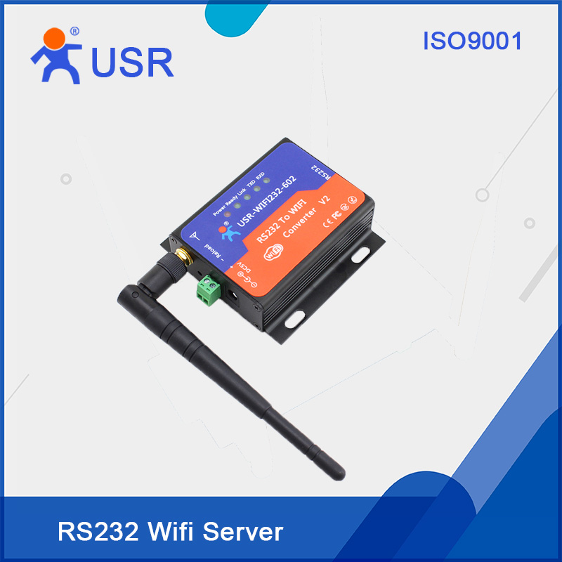 USR-WIFI232-602-V2 Free Shipping CE FCC RoHS certificate Converters Serial RS232 to WiFi 2pcs/lot usr n510 modbus gateway ethernet converters rs232 rs485 rs422 to ethernet rj45 with ce fcc rohs certificate