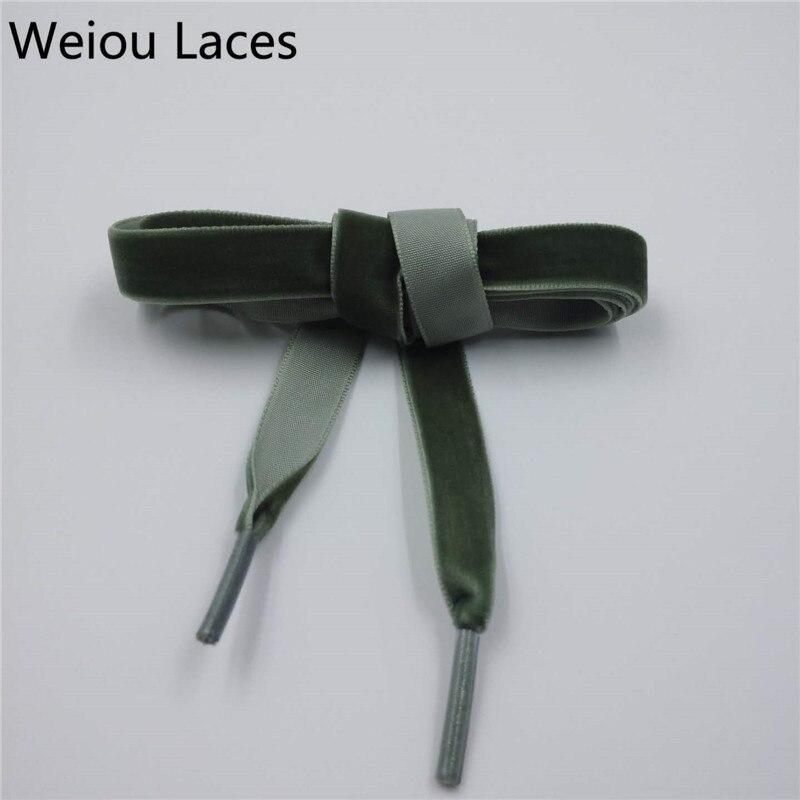 Weiou 1.27cm(1/2 Inch) Width Wide Plastic Tips Flat Single Side Heavy Duty Velvet Shoelaces Ribbon Shoe Laces For Kids Women