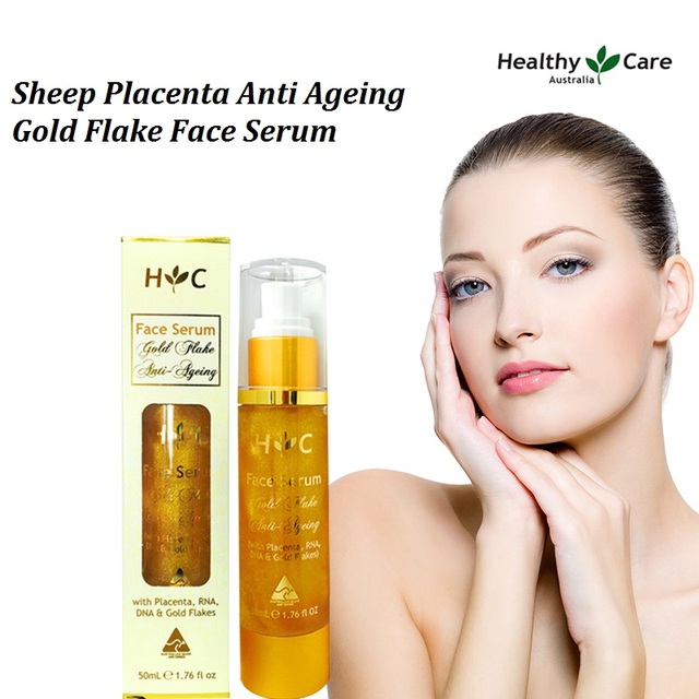 100% Australia Sheep Placenta Anti Ageing Gold Flake moisturising Face Serum effectively reduces black spots wrinkles fine lines