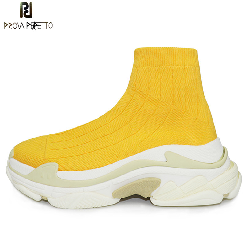 Prova Perfetto 2018 New Women Sock Boots Round Toe Elastic High Boots Slip On High Heels Ankle Boots Flat Platform Casual Shoes new classic flat heels elastic knee high boots for women knitted casaul shoes white black stripe platform sneakers sock shoes