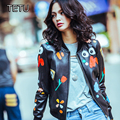 Autumn New Outerwear Women's Genuine Leather Jackets Sheepskin/Flower Printed/Casual Look LW9008