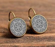 charm silver mandala font b earrings b font glass on font b earring b font bronze