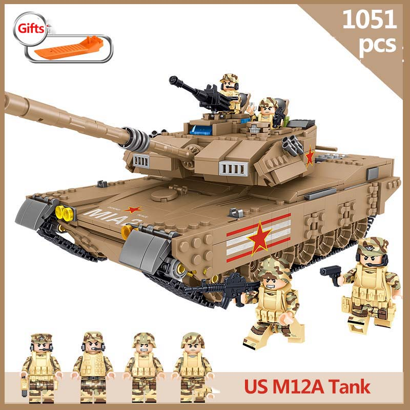 1051pcs Military series US M1A2 Abrams Main Battle Tank army soldier Action Figures Building Blocks Toy
