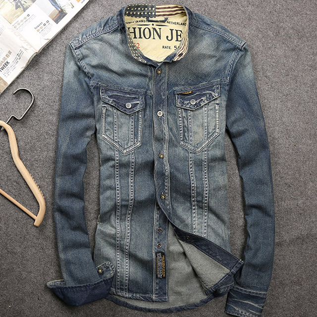 Spring Autumn Casual Men's Slim Blue 100% Cotton Denim Shirt ...