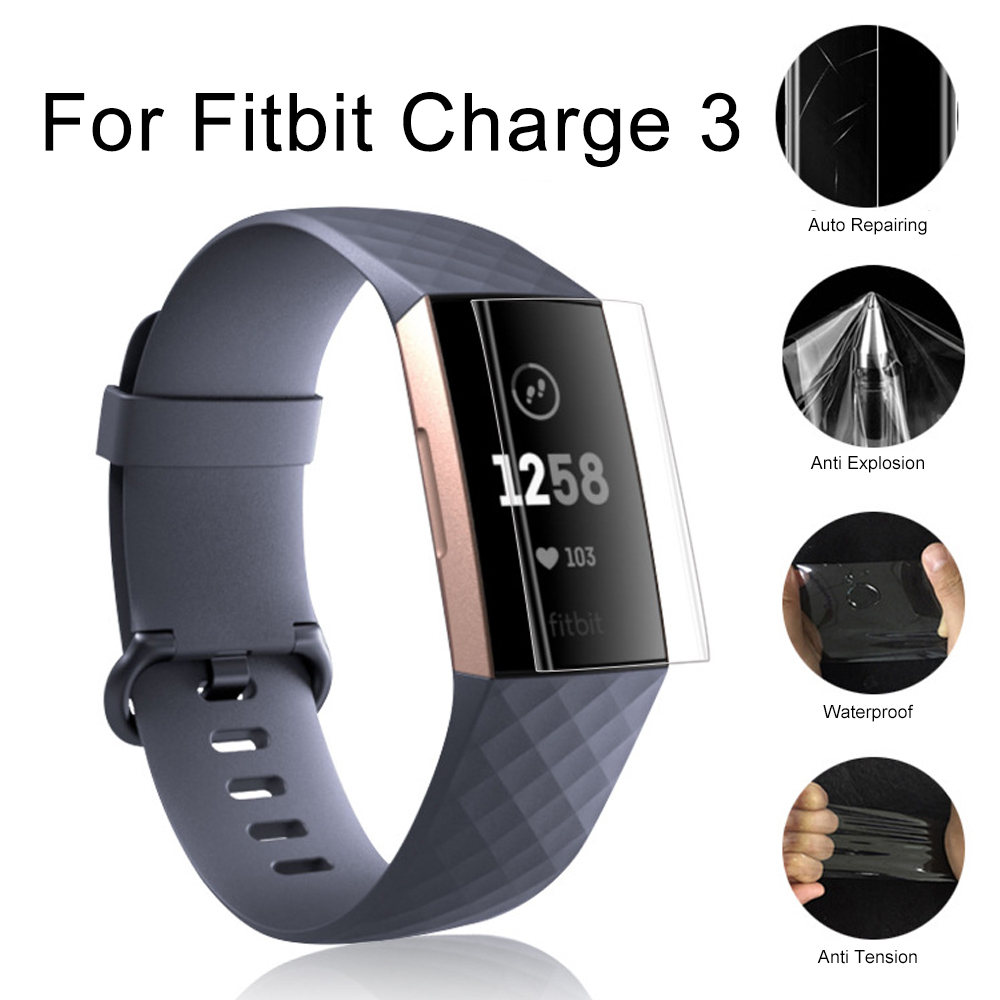5pcs Anti-Scratch Soft TPU Clear Protective Film Guard For Fitbit Charge 3 Band  Smart Wristband Full Screen Protector Cover