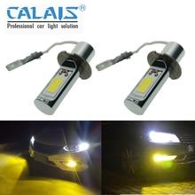 2PCS 슈퍼 밝은 H3 LED 안개 전구 노란색 흰색 2000 루멘 3000K 6500K LED COB 자동 자동차 LED 안개 램프 교체 12V 24V