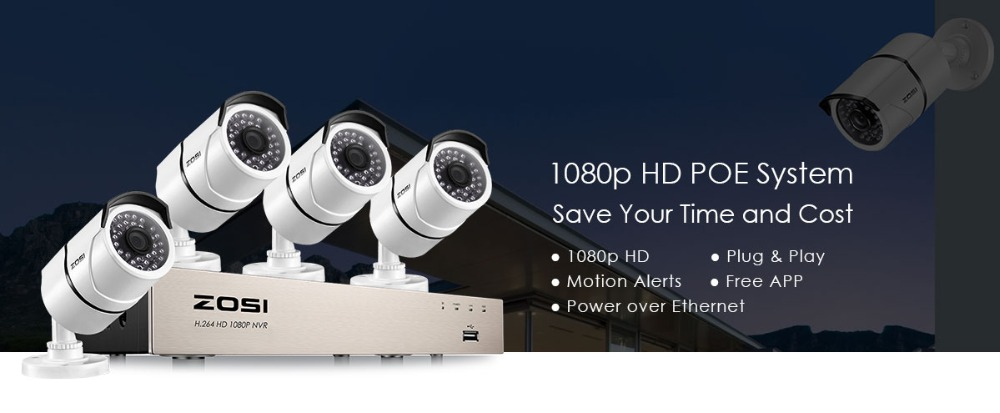 New 1080P (1920 x 1080p) POE Video Security System and (4) 2-Megapixel  Outdoor Bullet IP Cameras with 100ft Night Vision