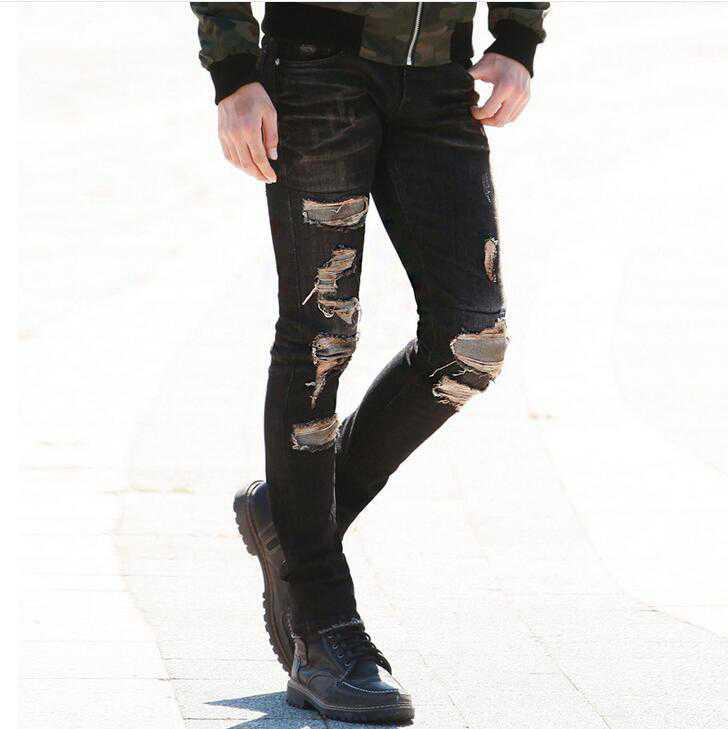 #1414 2017 Patchwork Black ripped jeans men Skinny mens black jeans Vintage Slim Distressed jeans motorcycle Designer Jogger