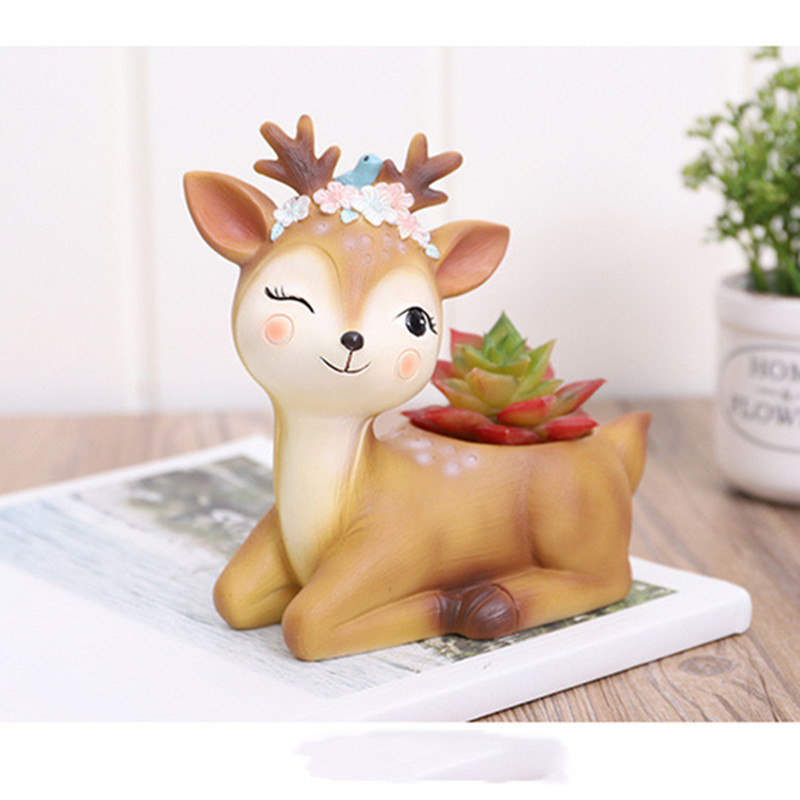 Image 2 - 2019 Flower Pot Home Decoration Accessories Figurines Succulent Plant Pots Balcony Modern Multi Deer Animal Resin Crafts-in Flower Pots & Planters from Home & Garden