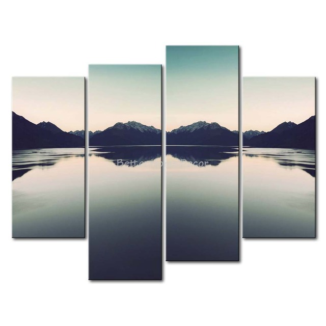 piece wall art painting mountain lake dawn mountain picture print