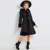 sishot winter women coat 2018 warm jacket long sleeve casual Black Knee Length Dresses A Line Full Boat Neck Brief Overcoat