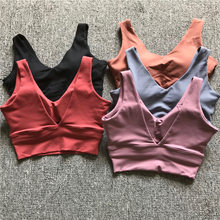 Sexy Deep-V Yoga Sport Bh Vrouwen Push Up Nylon Workout Fitness Crop Top Vest-Type Gym Oefening sport Beha 2019(China)