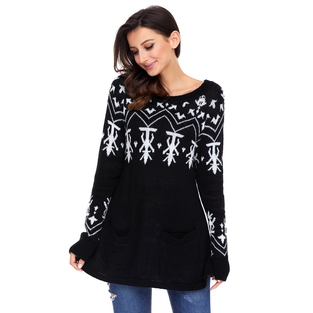 Europe and the United States new autumn and winter fashion sets of round neck long sleeve printed Christmas sweater women