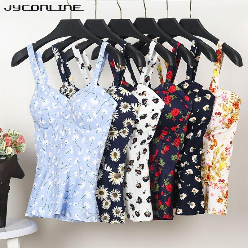 JYConline Floral Bustier Top Safra de Verão Tanque Das Mulheres Top Curto Vest Camis Sensuais Mulheres Topos Cortadas Feminino Babados Bra Bralette