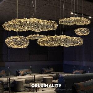 Image 4 - Nordic Art Hollow Cloud Design Pendant Lights Creative Bedroom Hotel Hall Restaurant Bar Designer Firefly Led Lighting Fixtures