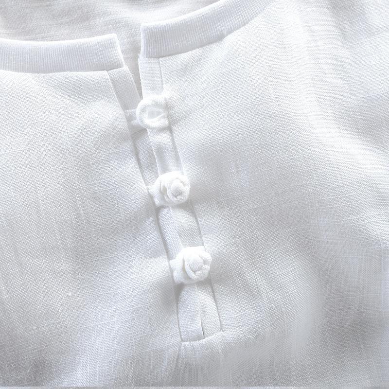 Summer new linen t shirt men short sleeve round collar men t-shirt loose strech tshirt mens white solid t shirts male brand 3XL