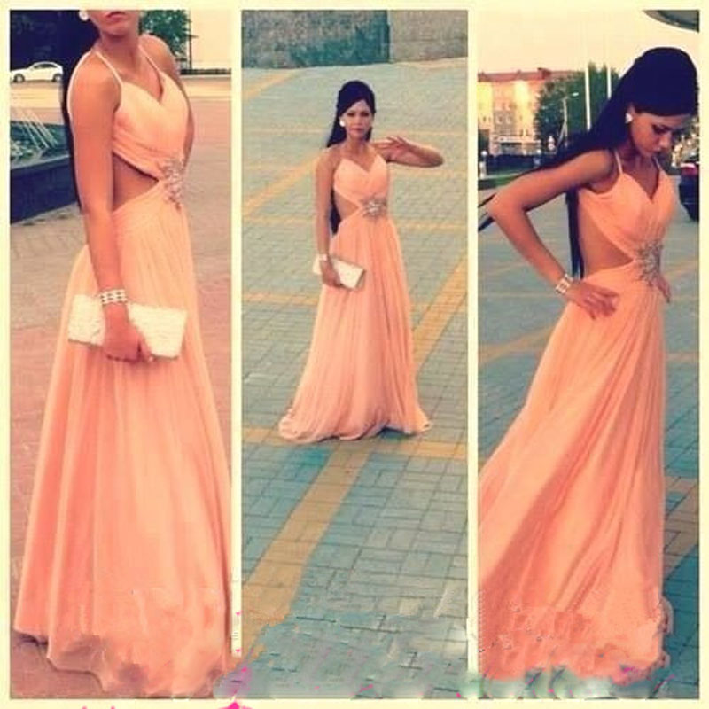 2016 Vestido Peach Prom Dress Backless Chiffon Long Evening Gown ...