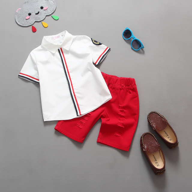 summer new style foral fashion clothing set baby boys clothes t-shirt+ shorts red/grey/white kids clothes