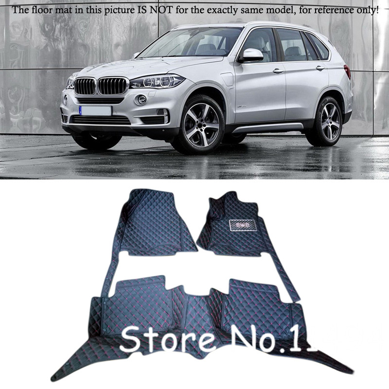 Left / Right Control Drive Car! Interior Black  Leather Floor Mats & Carpets Pads  For BMW X5 F15  7 seats 2014 2015 2016 for opel zafira left drive firm pu leather wear resisting car floor mats black brown grey custom made waterproof carpets