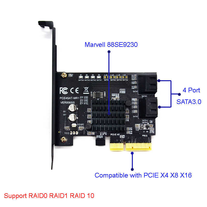 PCI Express Raid Card 4Port SATA 3.0 Add On Card Marvell 88SE9230 Chipset Compliant with PCI-E Specification revision 2.2 for PC