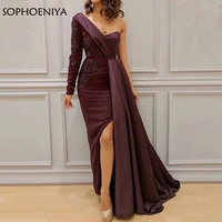 Elegant One shoulder Long sleeve Evening dresses Saudi Arabic Kaftan Purple Formal dress evening Party abiye evening gown