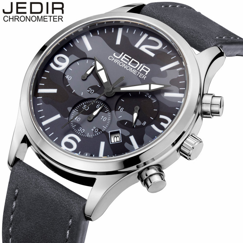 Mens Watches Top Brand Luxury JEDIR Military Watches Men Sport Quartz Watch Chronograph Luminous Analog Clock relogio masculino jedir chronograph sport mens watches top brand luxury famous male clock quartz watch military leather relogio masculino gift box