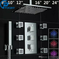 POIQIHY Chrome Polish LED Light 8 10' 12 16 20 24 Thermostatic Shower Faucet Rainfall 6pcs Sprayer Massage Jets Sprayer