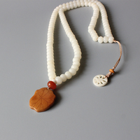 Wholesale White Bodhi Seed Beaded Necklace With Tagua Nut Carved Lotus Leaf Pendant Zen Buddhism Jewelry Unique Gift For Women