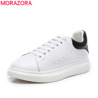 MORAZORA 2019 white shoes woman sneakers genuine leather shoes lace up classic flat couple shoes woman casual shoes big size 46