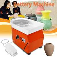 25cm AC 110V/220V Pottery Wheel Machine Ceramic Work Ceramics Clay Art With Mobile Foot Pedal Metal + Aluminum Alloy 42x52x35cm