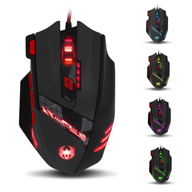New 2017 arrival Adjustable DPI Multi-Modes LED Lights Optical USB Wired Gaming Mouse EMS600BK Hot Sale
