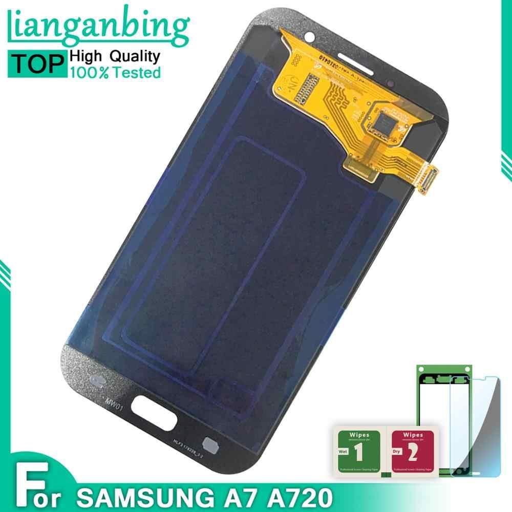 5.7 ''super amoled LCD do samsunga Galaxy A7 2017 A720 A720F SM-A720F wyświetlacz LCD montaż digitizera ekranu dotykowego darmowa wysyłka