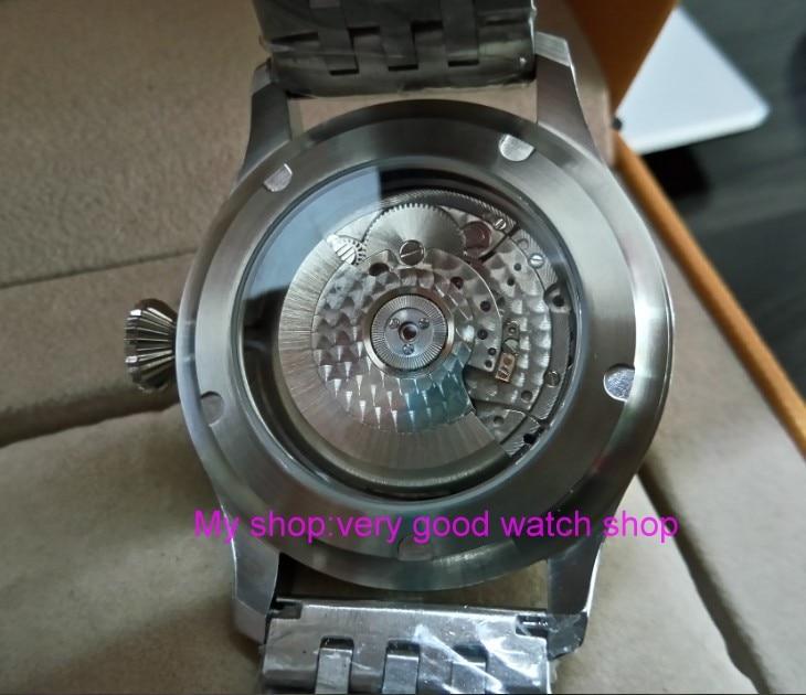 47 мм Big Pilot Парнис черный циферблат Самовзводные механизм автоматического Дата мужские часы световой механические часы df132a