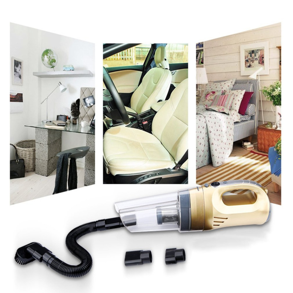 Portable 120W 12V Car Vacuum Cleaner 4.5m Cable Length Wet & Dry Use Auto Cleaning Tool Car Cleaner LED Lights Flashlight Hot