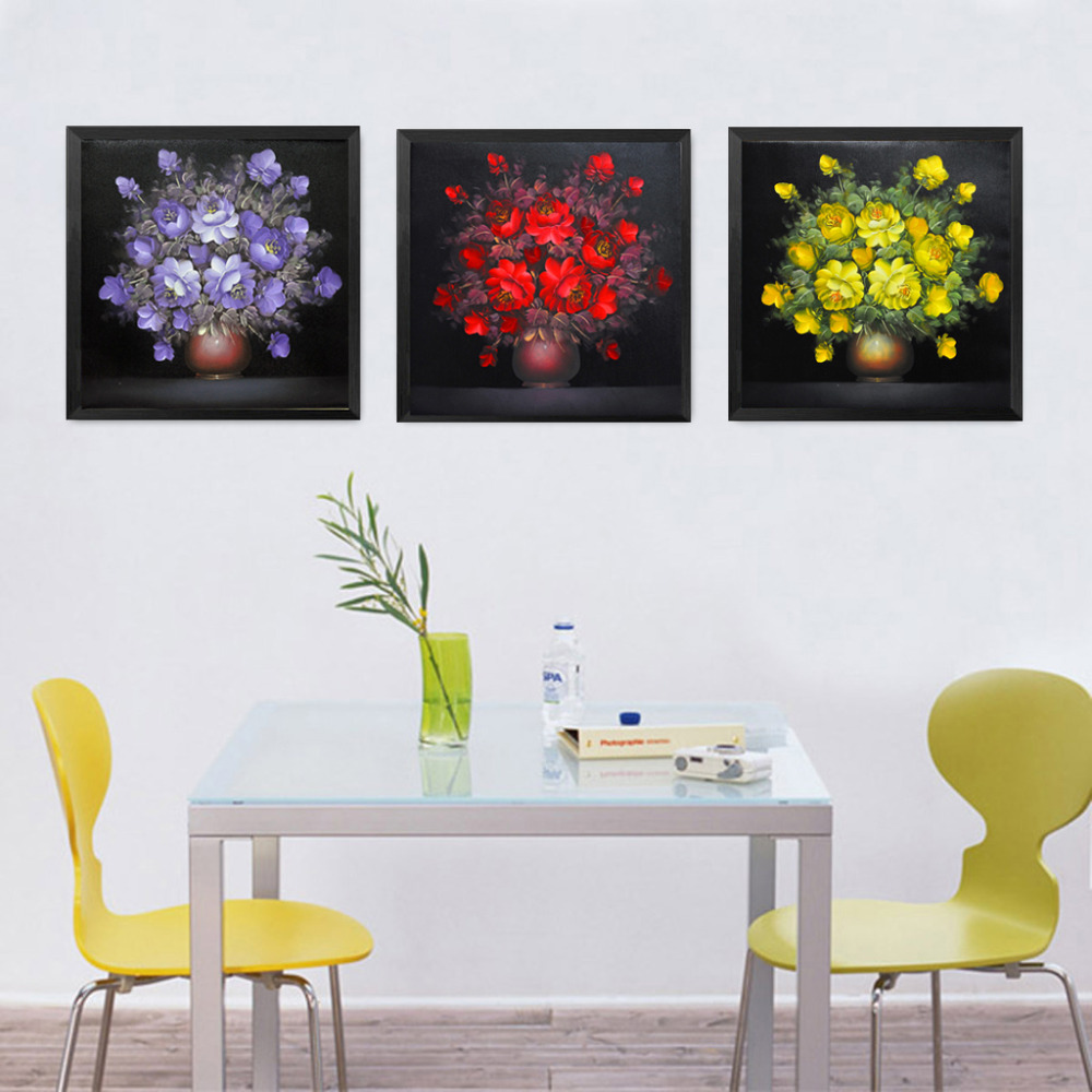 3pcs Painting Calligraphy Oil Painting Red Purple Yellow Flowers ...
