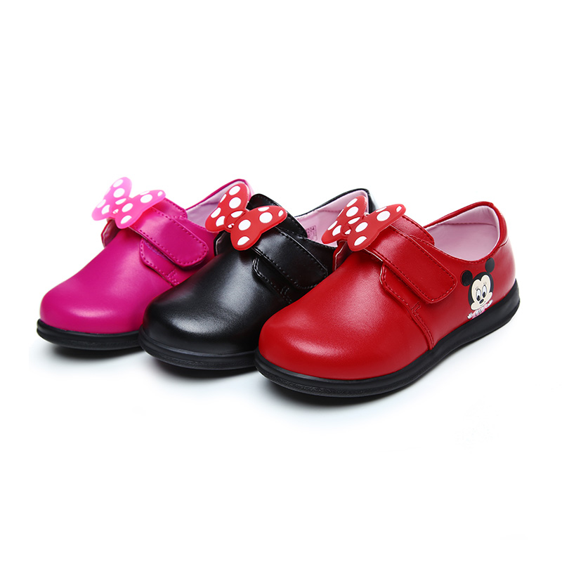Disney Minnie Pattern Childrens Shoes Baby 2018 Spring New Girls Shoes Princess Single Shoes Children Bow DH0204