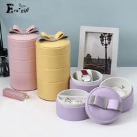 Small Bow Jewelry Boxes 3 Layer Watch Box Organizer Stud Earrings Ring Collection Travel Jewellery Holder