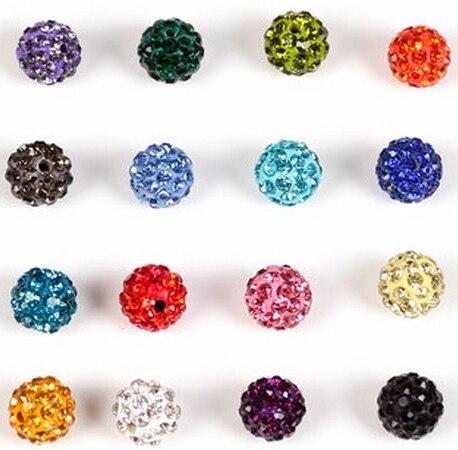 10mm 200 pcs/lot Mixed multi Micro Pave Ball Beads free shipping Crystal Shamballa Bead Bracelet Spacer lot Jewerly making bead