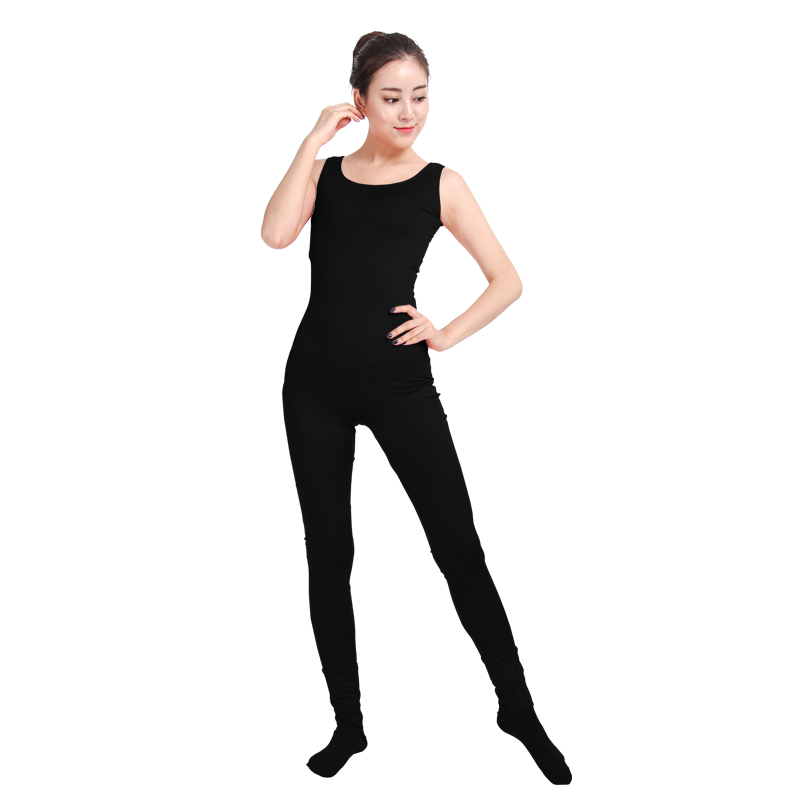 8a1bc7ad6513 Ensnovo Women Unitard Lycra Spandex Dance Costumes Gymnastics Yoga Suit  Sleeveless Footed Jumpsuits Black Unitard Bodysuit